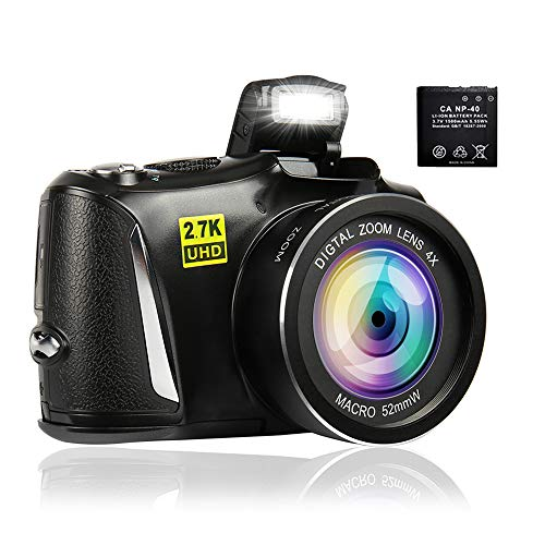 Digital Camera Camcorder Full HD 2.7K Vlogging Camera 48.0 MP Video Camera for YouTube with 4X Digital Zoom and 3.0 Inch Screen Compact Camera for Beginners Photography(with one 1500mAh Battery)