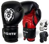 FIGHTR Guantes de Boxeo, Ideales para Estabilidad y Fuerza de Impacto, Guantes para Boxeo, MMA, Muay Thai, Kickboxing y Artes Marciales, Incluye Bolsa de Transporte (Negro/Rojo, 14 oz)