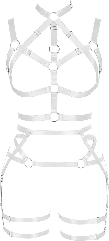 Pentagram Lingerie cage Full body harness for women Garter belt set Halloween Punk Gothic Bra Plus size Festival rave