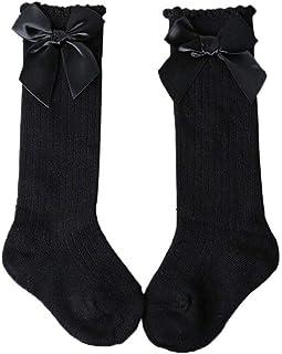 HUANG, Calcetines hasta la rodilla para bebé, medias de punto de canalé cálidas de invierno con lazos, calcetines hasta la rodilla de algodón para recién nacidos y niñas