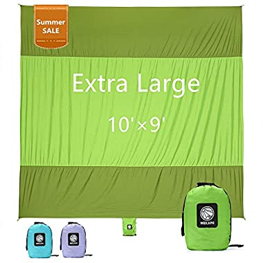 WEKAPO Sand Proof Beach Blanket, Extra Large Oversized 10'X 9', Big & Compact Sand Free Mat Quick Drying, Lightweight & Durable with 6 Stakes & 4 Corner Pockets
