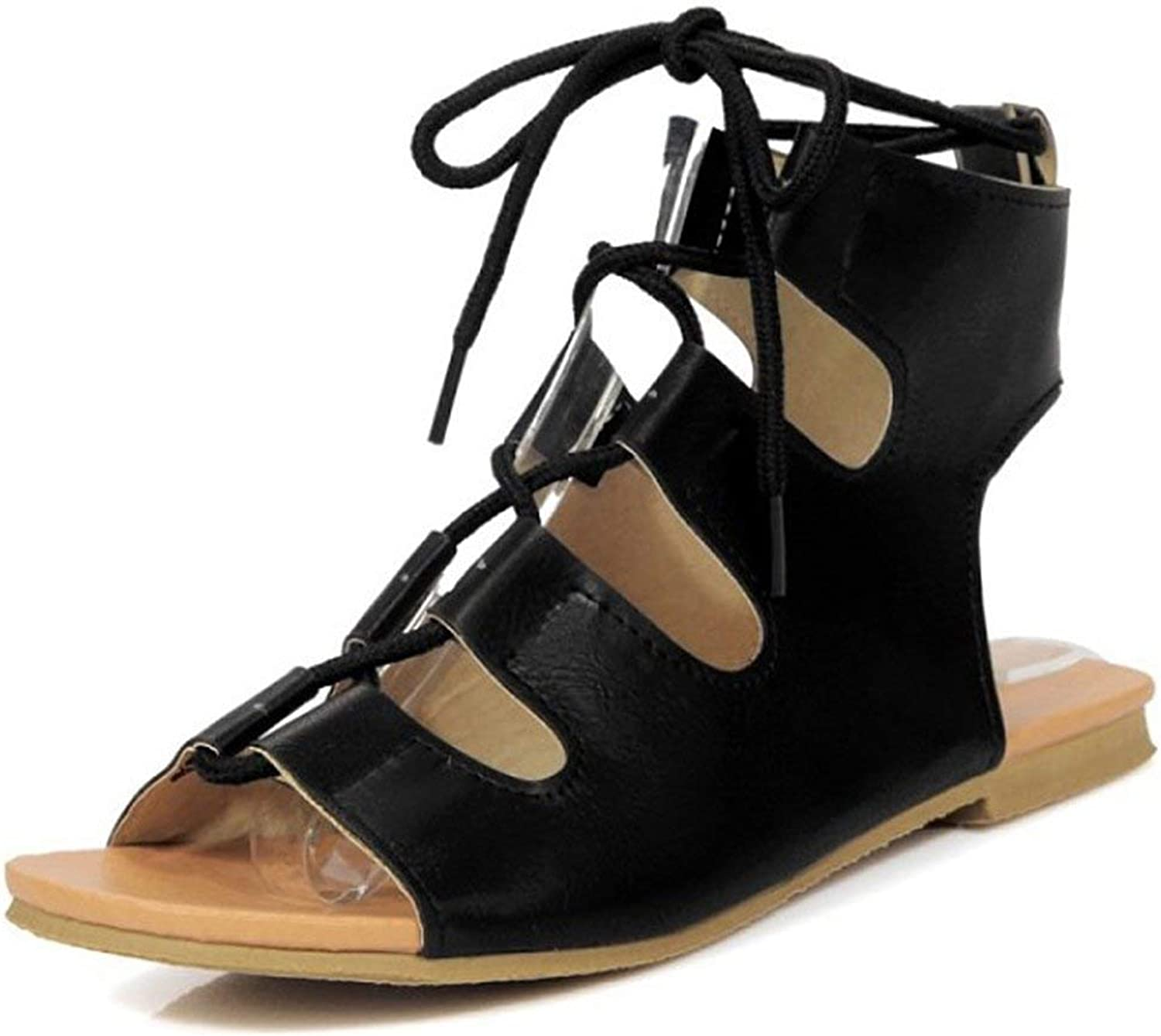 Gcanwea Women's Comfy Ankle High Booties Cut Out Lace-up Flat Gladiator Sandals Comfortable Fashion Lightweight Pu Leather Summer Non-Slip Soles Strappy Casual Black 4 M US Flat Gladiator Sandals