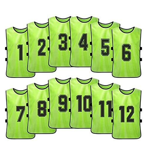 zyr Peto de Entrenamiento de fútbol de 12 Piezas, Traje de Combate numerado, Hecho de Fibra de poliéster Transpirable, Adecuado para niños y Adultos (3 tamaños Disponibles)