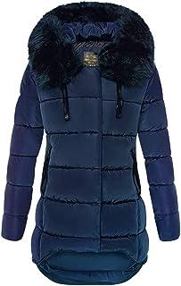 Libland - Abrigo acolchado largo para mujer, con cuello de pelo sintético desmontable, ideal para el invierno