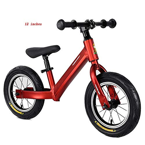 YumEIGE wieltjes 12 14 inch kinderwiel, wielen geanodiseerd aluminiumlegering, loopwiel instelbare zitting voor kinderen 33-51 cm groot 12in rood