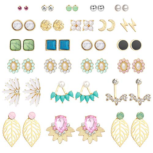 Hanpabum 24 Pairs Assorted Earrings Ball CZ Faux Pearl Love Knot Lotus Chic Stud Earrings for Women