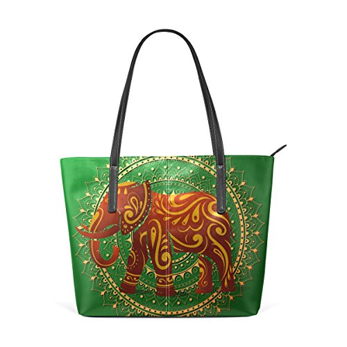 COOSUN Elephant with Orient Ornament PU Leather Shoulder Bag Purse and Handbags Tote Bag for Women