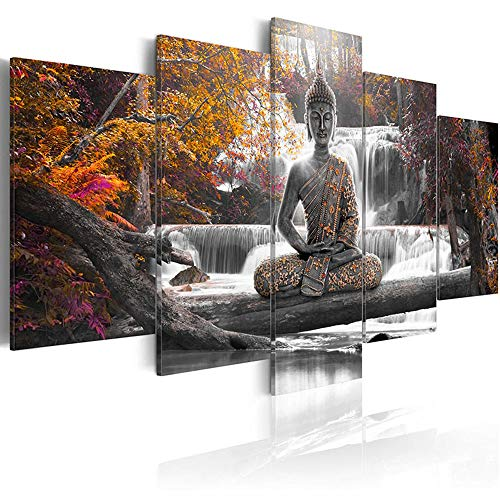 AWLXPHY Decor Buddha Waterfall Wall Art Canvas Painting Framed 5 Panels for Living Room Decoration Modern Landscape Buddha Trees Zen Stretched Artwork Giclee (Yellow, 40'x20')