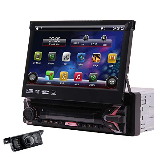 EinCar Car DVD Stereo GPS Navigation for Car Radio Android 10.0 OS 7 Inch HD Touch Screen Single Din 1GB RAM 32GB ROM in Dash DVD Player FM/AM Receiver Mirror Link WiFi Free Rearview Camera Included