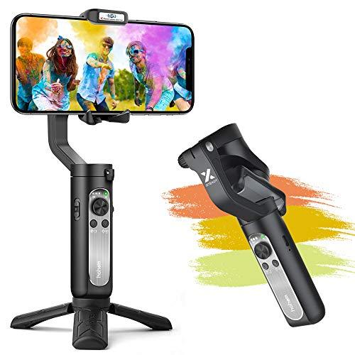 Smartphone Stabilisateur - Gimbal Stabilisateur pour iPhone 11 Pro/XR/XS Max/Galaxy S10+ /Huawei P40/30 Mate 30, Gimbal Pliable à Poche Design Léger Portable Contrôle Intelligent, Trépied Compris