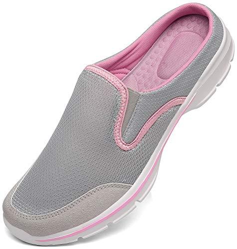 INMINPIN Unisex Hausschuhe Leichte Atmungsaktive Pantoffeln Slip On Walking Freizeit Schuhe für Damen Herren, Grau Pink, 38 EU