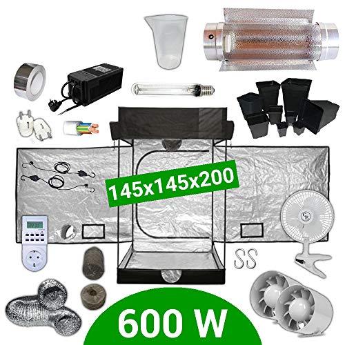 Kit de cultivo interior 600W SHP Cooltube Protube - Armario 145x145x20