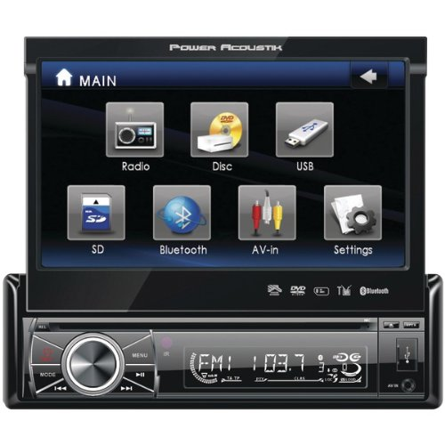 POWER ACOUSTIK PTID-8920B 7' Single-DIN In-Dash Motorized Touchscreen LCD DVD Receiver with Detachable Face (With Bluetooth(R))