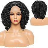 Sylhair Synthetic Lace Front Wig 10 inch BOB Wig for Black Women Afro Kinky Curly Wig Water Wave Lace Front Wigs for Daily Use Black Short Curly Bob Wigs Natural Hairline(4'Simulation Scalp)