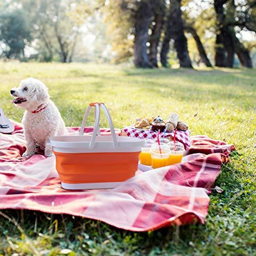 Cesta plegable portátil para pícnic, fregadero de camping al aire libre, cubo plegable de silicona para verduras, utilizado para el hogar, lavado, camping, senderismo (naranja)