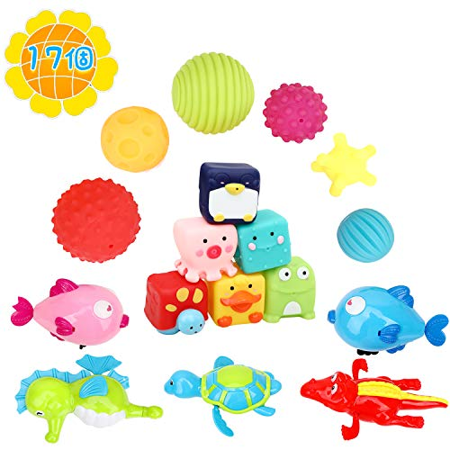 FlyCreat お風呂おもちゃ 赤ちゃんおもちゃ ベビー用ボール 水陸両用 17個セット ベビーおもちゃ 水鉄砲 水...