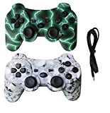 IHK 2 Pack Wireless Dual Vibration Controller for PS3, Gamepad Remote for Playstation 3 with Charge Cables, Green and Skull - 43237-2