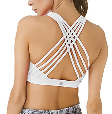 QUEENIEKE Women's Medium Support Strappy Back Energy Sport Bra Cotton Feel Size XL Color Angle White