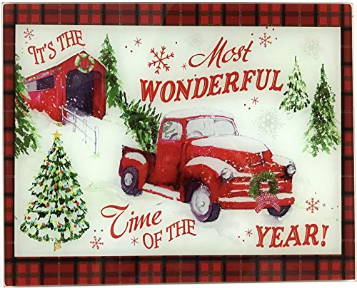 Holiday Christmas Glass Cutting Board: Old Fashion Covered Bridge and Country Truck, Most Wonderful Time of the Year