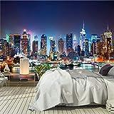 murimage Papier New York 366 x 254 cm Photo Mural Manhattan Skyline Vue nocturne Nuit USA Cité bureau Wallpaper Colle Inclus