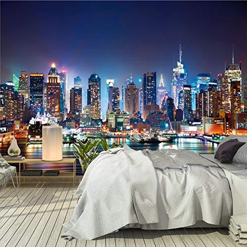 Fotomural Papel Pintado New York 366 x 254 cm Incluye Pegamento Fotomurales Manhattan Skyline Arquitectura Estados Unidos Ciudad USA Vista 3D noche Vista