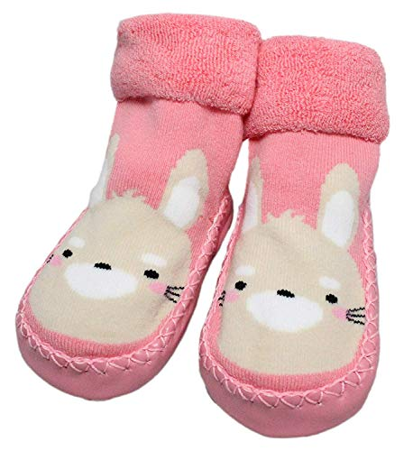 Baby Toddler Boys Girls Winter Non-slip Animal Slipper Shoe Socks Moccasins (Pink Rabbit, 6-12 Months)