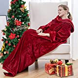 Flannel Fleece Wearable Blanket with Sleeves and Foot Pocket for Adult Women Men, 260GSM Lightweight Fuzzy Soft TV Blanket Throw Wrap for Bed Sofa Couch Travel Home Office (Wine, 71' x 51')