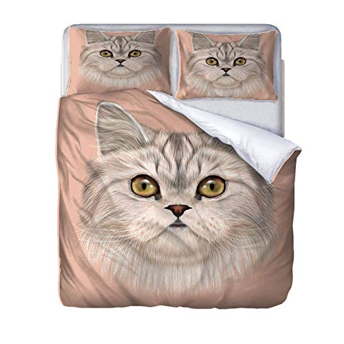 AOUAURO King size Duvet Cover Set Cute cat Bedding Set with Hidden Zipper Microfiber Bedding Quilt Cover with 2 Pillowcases for Children Kids Teens Adults 230x220cm 3D Printed 3PCS Set