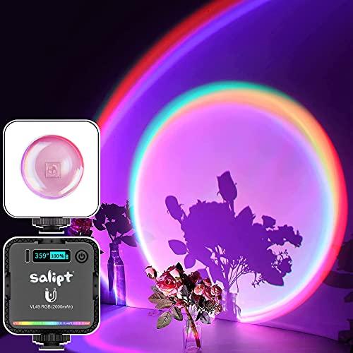 salipt Sunset Lamp, Tik Tok RGB Projection lamp, Lampada da Proiezione Arcobaleno, Luce Video Led con Supporto Treppiede per Makeup/ YouTube Video/ Fotocamera Fotografia/ Della Camera da Letto a Festa