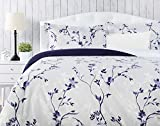 Chanasya Ultra Soft Floral Print 3-Piece Bedding Duvet Cover Set Queen - Luxurious Brushed Microfiber Comforter Cover - Zipper Closure Reversible Print (1 Duvet Cover & 2 Pillowcases) Navy Purple