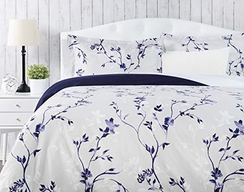 Chanasya Ultra Soft Floral Print 3-Piece Bedding Duvet Cover Set Queen - Luxurious Brushed Microfiber Comforter Cover - Zipper Closure Reversible Print (1 Duvet Cover & 2 Pillowcases ) Navy Purple
