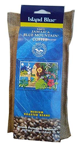 Island Blue 100% Jamaica Blue Mountain Whole Beans Coffee - 16 Ounces