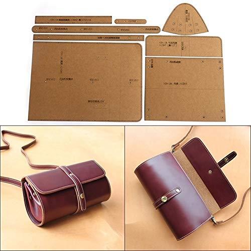 NO LOGO 1pc DIY handgemachte beiläufige Schulter-Kurier-Beutel-Zylinder-Paket Kraft Paper Vorlage Handgefertigte Lederhandwerk Taschen-Schablone 23cm * 10.5cm