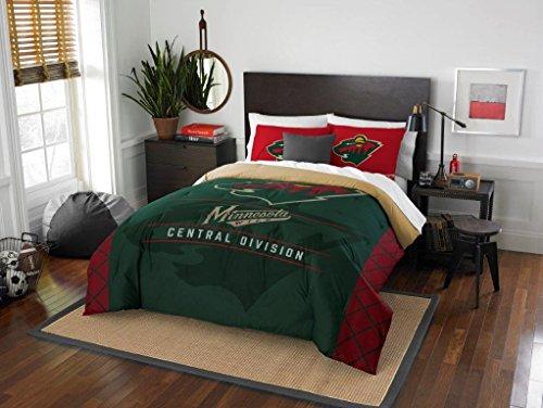Minnesota Wild - 3 Piece FULL / QUEEN SIZE Printed Comforter & Shams - Entire Set Includes: 1 Full / Queen Comforter (86' x 86') & 2 Pillow Shams - Hockey Bedding Bedroom Accessories