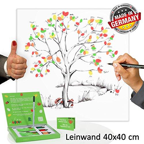 galleryy.net Fingerabdruck Leinwand 40x40 INKL Zubehör-Set (Stempelkissen+Stift+Anleitung+Hochzeitsbuch+...) GRATIS - Wedding Tree Zeichenstil - Fingerabdruck Baum Leinwand - Hochzeitsspiele