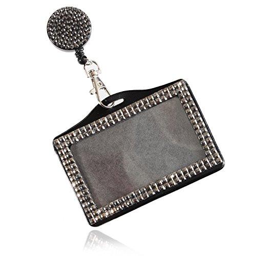Purely Handmade Fashion Retractable Coal Bling Crystal Strap Neck Lanyard Cute Rhinestone Badge Holder+Jeweled Horizontal Business Name ID Card Holder+Beaded Badge Reel Clip