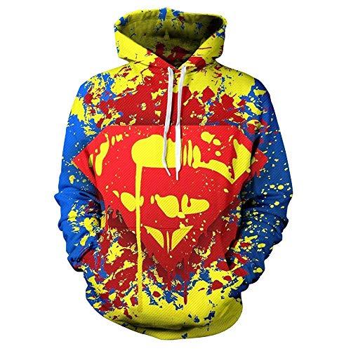 WGS Superheld Superman 3D Gedruckt Pullover Cosplay Sport Pullover Unisex Sweatshirt Coole Hoodie, A, XL