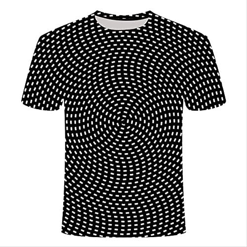 XSHUHANP Herren T-Shirts 3D Druck Mode Neues Muster Psychedelisches 3D T-Shirt Kurzarmprinting Oansatz T-Shirts Persönlichkeit Männer Frauen Unisex Sommer Tops 4XL