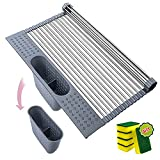 Roll Up Dish Drying Rack Over The Sink Dish Drying Rack Kitchen Rollable Stainless Steel Dish Drainer Foldable Sink Rack Mat [Light Grey, 17.4'x 15.2']