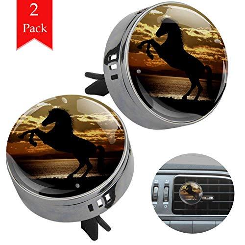 Pferd, das in der untergehenden Sonne absteigt Gun schwarz Auto Aromatherapie ätherisches Öl Diffusor Lufterfrischer Entlüftungsclip (2 Packungen) mit Kristallglas und Refill Pads 33.8x46.5mm
