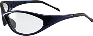 Global Vision Reflex Padded Motorcycle Safety Sunglasses Blue Frame Clear Lens ANSI Z87.1