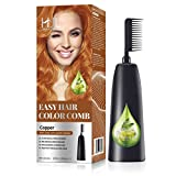 HJL Hair Color Permanent Hair Dye Cream with Comb Applicator Ammonia-Free Hair Coloring Kit, Copper, Pack of 1