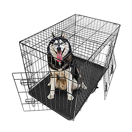 Sararoom Dog Crate Double Door Folding Metal Dog Kennel, Collapsible Pets Cage with Tray, for Large Dog, 36'