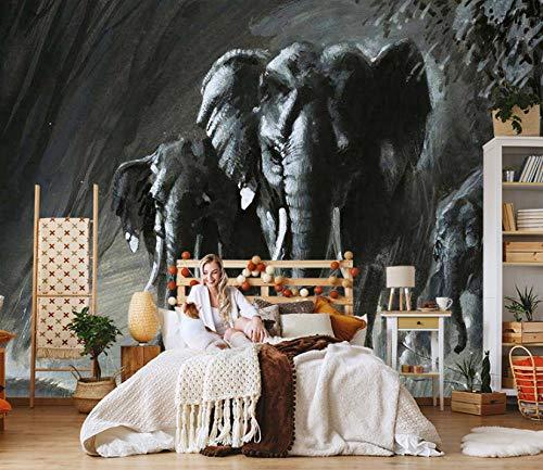 Fotomural Vinilo Pared Elefante Negro 200x150cm/79x59in(Wxh) Murales De Pared 3D Sala De Estar Fondo Papel Pintado De No Tejido Fotomurales Decorativos Pared