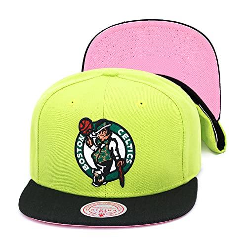 Mitchell & Ness Boston Celtics Snapback Hat Adjustable Cap - Light (Pastel) Green/Pink Bottom