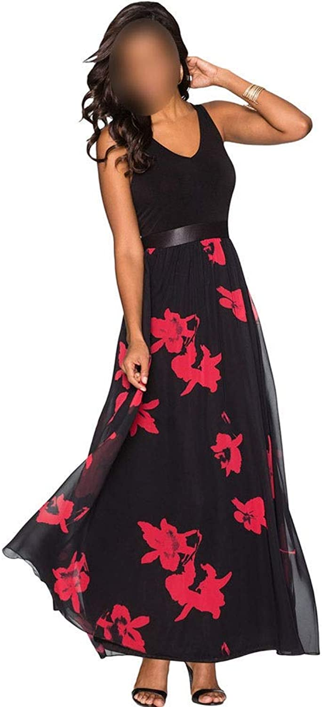 Sububblepper Women's VNeck Sleeveless Floral Printed Long Maxi Dress Mesh Dress (color   Black, Size   L)