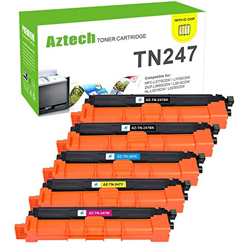 Aztech Kompatibel 5 Toner Cartridge Replacement für Brother TN247 TN-247BK TN247BK TN-243BK für Brother MFC-L3750CDW MFC-L3770CDW DCP-L3550CDW HL-L3230CDW Toner Brother DCP-L3510CDW HL-L3210CW Toner