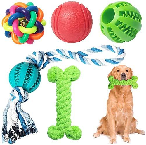 5 juguetes para masticar para perros, de goma duradera, divertida, con cepillo de dientes para perros, juguete interactivo para perros grandes y pequeños (verde)