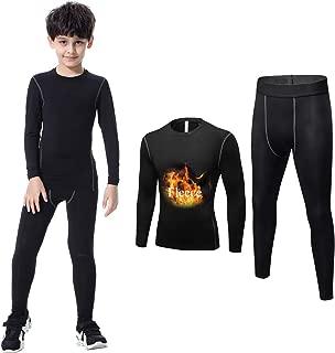 2 Pcs Kids' Boys Athletic Base Layer Compression Shirts and Leggings Thermal Set