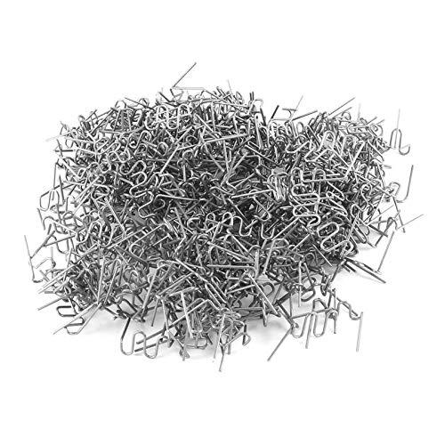 Juego de grapas planas universales precortadas de 0,6 mm y 0,8 mm para grapadora de plástico, 100 unidades